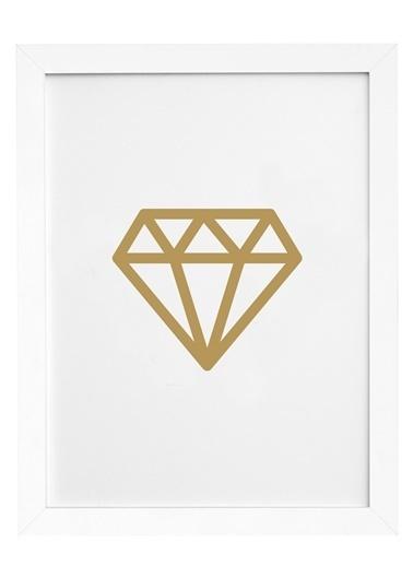 Nordbagen Diamond Gold Poster Beyaz